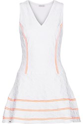 L'etoile Sport Geo Striped Textured Stretch Knit Tennis Dress White