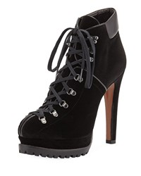 Alaia Suede Platform Lace Up Boots Black