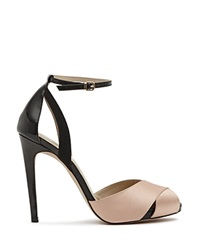 Reiss Ankle Strap Sandals Cece Cross Front High Heel Black Powder