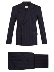 Maison Martin Margiela Double Breasted Striped Wool Blend Suit Blue