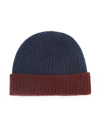 The Men's Store At Bloomingdale's Two Tone Cashmere Beanie Steel Blue Deep Wine