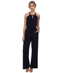 Vince Camuto Sleeveless Jumpsuit With Keyhole Front And Back Navy Women's Jumpsuit And Rompers One Piece
