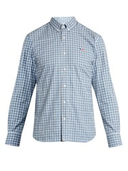 Maison Kitsune Logo Embroidered Checked Cotton Shirt Grey Multi