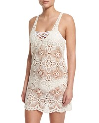 L Space Swimwear By Monica Wise Lucy Cotton Lace Coverup Dress W Removable Liner Natural