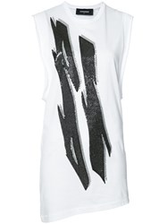 Dsquared2 Tiger Flash Sequin T Shirt Dress White