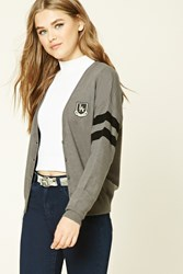 Forever 21 Patch Graphic Cardigan Charcoal Black