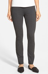 Women's Eileen Fisher Skinny Knit Pants With Yoke Detail Charcoal