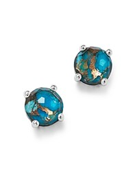 Ippolita Sterling Silver Rock Candy Mini Stud Earrings In Clear Quartz And Bronze Turquoise Turquoise Silver