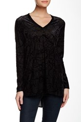 Karen Kane Long Sleeve Burnout Combo Tee Black