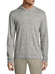 Theory Colton Zephyr Linen Hoodie Grey