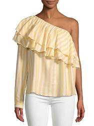 Saks Fifth Avenue Red Richelle One Shoulder Cotton Top Yellow