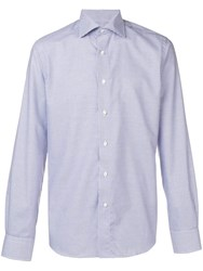 Canali Check Print Spread Collar Shirt Blue