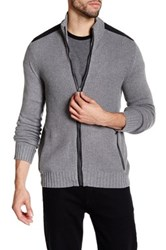 Kenneth Cole Ribbed Knit Full Zip Contrast Trim Sweater Gray