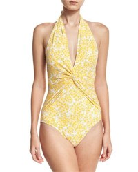 Michael Michael Kors Deep V Halter Ruched One Piece Swimsuit Yellow Pattern
