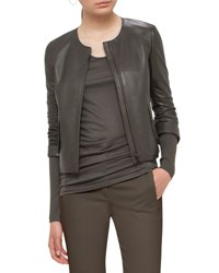 Akris Punto Perforated Leather Jacket Olive