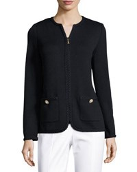 St. John Braided Trim Zip Front Jacket Black