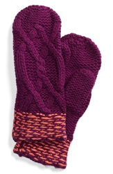 Lole Cable Knit Mittens Dark Purple