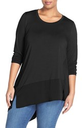 Plus Size Women's Melissa Mccarthy Seven7 Mixed Media Asymmetrical Hem Top Black