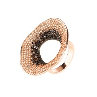 Latelita London Temptress By Day Statement Cocktail Ring Black White Rose Gold
