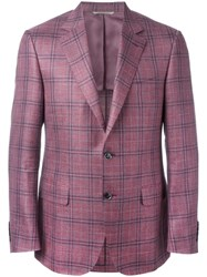 Canali Plaid Blazer Red