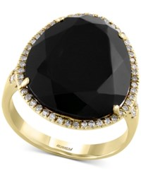 Effy Collection Eclipse By Effy Black Onyx 9 9 10 Ct. T.W. And Diamond 1 4 Ct. T.W. Ring In 14K Gold