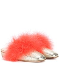 Alexander Mcqueen Feather Trimmed Metallic Leather Mules Gold
