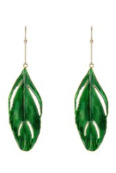 Aurelie Bidermann Aurelie Bidermann 18K Gold Plated Feather Earrings Green