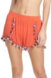 7d6b235e47 Surf Gypsy Red Fruit Punch Pompom Cover Up Shorts