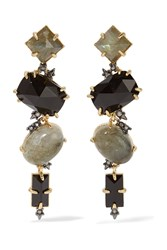 Alexis Bittar Gold Tone Stone And Crystal Earrings Green