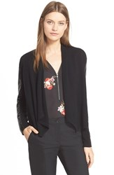 Women's The Kooples Leather Trim Wool And Cashmere Cardigan