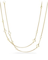 Venetian Quatrefoil Link Chain Necklace With Diamonds In Gold David Yurman Red