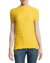 Helmut Lang Ruffled Fitted Baby Tee Yellow