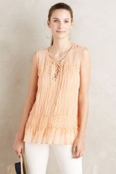 Anthropologie Lace Up Ruched Tunic Tangerine