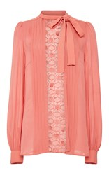 Elie Saab Crepe Cady And Lace Long Sleeve Shirt Pink