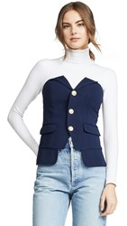 Laveer Button Up Bustier Top Navy