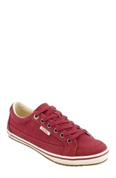 Taos Moc Star Sneaker Red Distressed Fabric