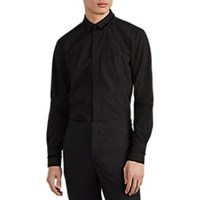 Neil Barrett Fringe Trimmed Cotton Poplin Shirt Black