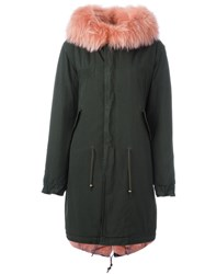 Mr And Mrs Italy Rabbit And Raccoon Fur Lined Parka Green
