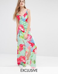 Every Cloud Rose Print Strappy Maxi Dress Multi Print