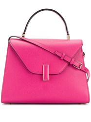 Valextra Foldover Top Satchel Bag Pink And Purple