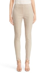 St. John Women's Collection Crop Stretch Suede Leggings
