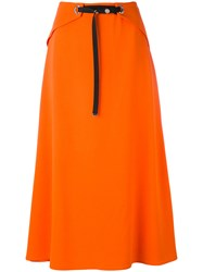 Thierry Mugler Snap Front Midi Skirt Women Polyester Acetate Viscose 40 Yellow Orange
