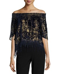 Elie Tahari Calliope Metallic Off The Shoulder Blouse Blue Gold Multi