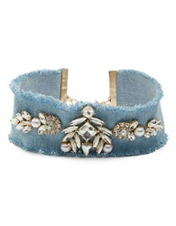 Cara Faux Pearl And Stone Accented Choker Necklace Denim