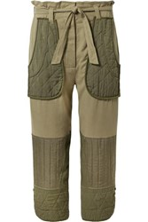 Sea O'keeffe Cropped Cotton Twill And Quilted Canvas Tapered Pants Army Green