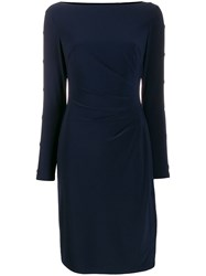 Lauren Ralph Lauren Boat Neck Dress Blue
