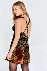 Ecote Floral Velvet Burnout Mini Slip Dress Purple Multi