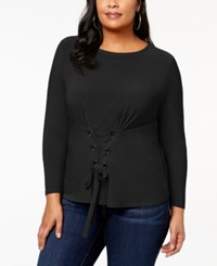 Inc International Concepts Plus Size Corset Detail Top Created For Macy's Deep Black
