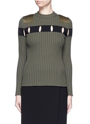 Alexander Wang Perforated Stripe Military Wool Sweater Green