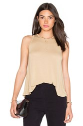 Enza Costa Stretch Crepe Jersey Trapeze Tank Brown